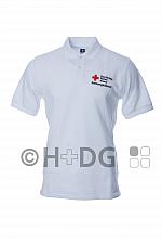DRK-Poloshirt 'Rettungsdienst', weiß, mit Kompaktlogodruck auf Brust und Rücken