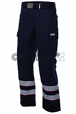 Malteser-Einsatzhose, dunkelblau, mit Reflexstreifen und Kniepolstertasche, für Damen und Herren
