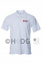 DRK-Poloshirt 'Sachsen', weiß, mit Kompaktlogodruck auf Brust