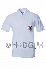 DRK-Poloshirt, weiß, mit Rundlogodruck auf Brusttasche