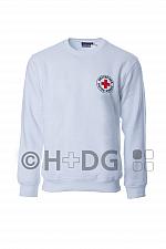 DRK-Sweatshirt, weiß, mit Rundlogodruck auf Brustseite