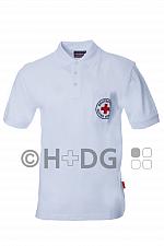 DRK-Poloshirt, weiß, mit Rundlogostick auf Brusttasche