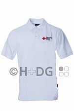 DRK-Poloshirt, weiß, mit Kompaktlogostick auf Brust