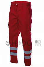 Damen-Einsatzhose, rot (325 g/m²), 2 Reflexstreifen