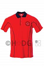 DRK-Poloshirt leuchtrot/marine, mit Rundlogostick