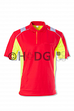 Poloshirt, Parchim rot/leuchtgelb