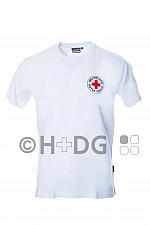 DRK-T-Shirt, weiß, Baumwolle, mit doppeltem Rundlogodruck auf Brust und Rücken
