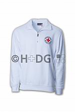 DRK-Zip-Sweatshirt, weiß doppelter Rundlogodruck