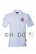DRK-Poloshirt, weiß, mit Rundlogodruck auf Brust und Rücken