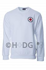 DRK-Sweatshirt, weiß, mit Rundlogostick auf Brustseite