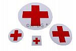 Aufkleber reflektierend 'Rotes Kreuz auf Silber' in 4 Größen