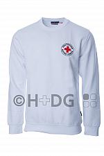 DRK-Sweatshirt, weiß, mit Rundlogodruck auf Brust und Rücken