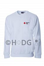 DRK-Sweatshirt, weiß, mit Kompaktlogodruck auf Brustseite