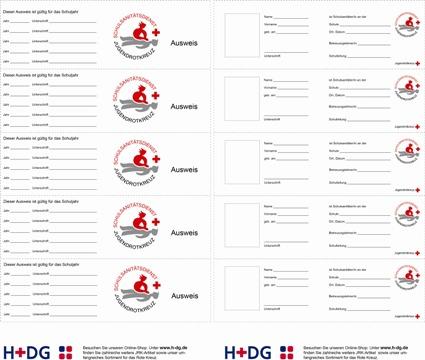 SSD-Ausweise (JRK),<br />VPE = 1 Bogen mit 5 Ausweisen -A- | H+DG | {Schulsanitäter ausweis<br /> 0}&#8216; title=